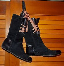 PETER KENT ANIKA SUEDE CORAL RIBBON LACE MID BLACK BOOTS ITALY 7