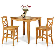 3pc counter height pub set 36x36 table + 2 bar stool wood chairs in light oak