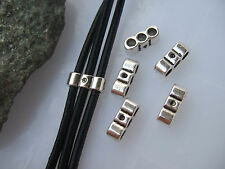 10pc Antique Silver 3 Holes Charms Slider Spaces For 3mm Round Flat Leather Coed