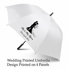 Wedding Umbrella Personalised Printed Bride & Groom Any Text/Date White 120cm