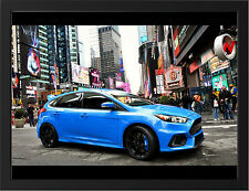 BLUE FORD FOCUS RS 2015 NEW A3 FRAMED PHOTOGRAPHIC PRINT POSTER