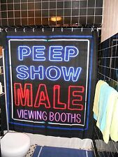 Peep Show Neon Shower Curtain  Gay NYC West Village Porn Backroom Hustler Trade