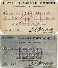 Denver, Texas & Fort Worth Railroad Annual Pass Duo (1889) Lot 1127