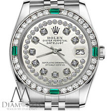 Rolex 31mm Datejust Stainless Steel Silver Diamond Emerald Bezel Women's size
