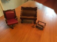 vintage sylvanian families Roll Top Desk ,chair And Magazine Rack