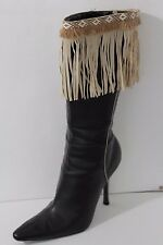 Women Western Beige Boot Topper Cover Faux Suede Leather Long Fringe Winter Pair