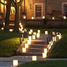 20pcs Large Hearts Wedding Outdoor Path Tea Light Candle White Paper Bag Lantern