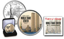 WTC 9/11 NY USA MINT STATE QUARTER. BROWN  COLORIZED+ CERTIFICATE+ IN VELVET BOX