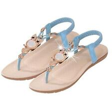 Women Bohemia Krystall Flat Shoes Beach Sandals Thongs Slippers Flip Flops