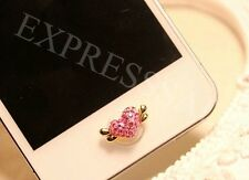 3D Pink Angel Heart Bling Diamond Home Button Sticker For iPhone4s,5,5c,5s,6,6+