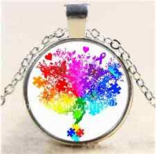 Autism Spectrum Tree white Cabochon Glass Tibet Silver Chain Necklace