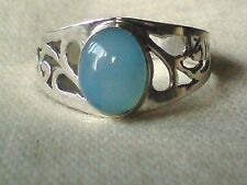 STERLING SILVER FILIGREE 10mm OVAL CABOCHON CHALCEDONY RING UK.size P £17.95 NWT