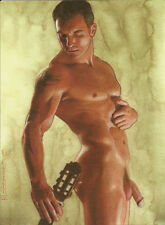 PRINT of Artwork Drawing Painting Nude Male Gay Interest MCicconneT ~ GUITARIST