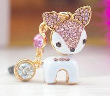 Rosa & Blanco Esmalte Diamante Perro Anti Polvo Ear Plug 3,5 mm para los teléfonos móviles