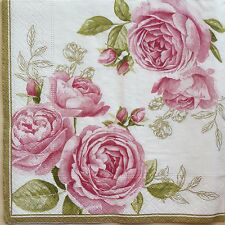 2 single paper napkins Decoupage Scrapbooking Collection Flowers Shabby Roses