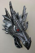 "Dragon Statue Wall Hanging Faux Dragon Head Taxidermy 16"" Red Eyes"