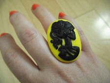GOTHIC Victorian  DAY OF THE DEAD SKELETON  LADY CAMEO  Ring Black & yellow