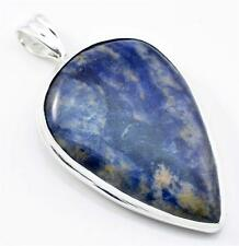 34.5cts. LARGE SODALITE PENDANT SOLID 925 STERLING SILVER JEWELRY IP16360
