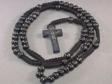 Rosary Wood BLACK Bead Macrame Accent Carved Crucifix Necklace Pray! A Classic!