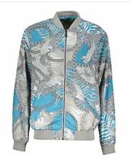 Versace Jeans Grey & Blue  Baroque & Chain Print  Bomber Jacket Sz UK 44/ IT 54