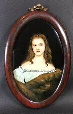 Reverse Painting On Glass Portrait Lady With Fur Stole Wood Frame 6x9 Oval 10A