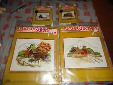 5 Kits SUNSET JIFFY STITCHERY, BARNS FARMS HORSE BUGGY POND CREWEL EMBROIDERY