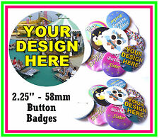 9 x 58mm CUSTOM BUTTON PIN BADGES PERSONALISED WITH YOU OWN DESIGN - STAG / HEN