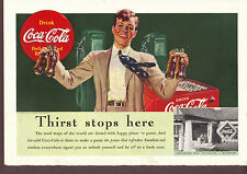 1939 Coca Cola Thirst stops here Coke Ad young man at Service station