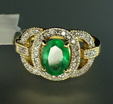 18K Yellow Gold Diamond Halo Oval Emerald Solitair Openwork Antique-style Ring