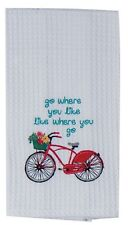 Go Where You Like... Red Bike Large Embroidered Cotton Waffle Kitchen Bar Towel
