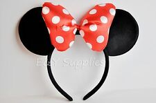 1 Minnie Mouse Ears Headband Black Red Bow Party Favor Costume Mickey