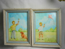 Paint of Vintage ORIGINAL Framed Paintings of Boy with Dog and Kite