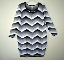 SAY WHAT Black White KNIT CHEVRON SWEATER DRESS Size 3X