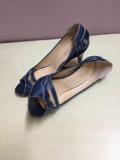ausm AUTHENTIC TOD'S BLUE LEATHER PENNY LOAFER PEEP TOE PUMPS