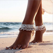Women Silver Anklet Chain small Bell Ankle Bracelet Jewelry Boho Barefoot Sandal