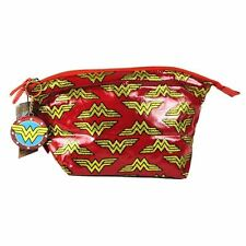 Official Wonder Woman Multi Logo Make Up Wash Toiletries Bag with Compact Mirror