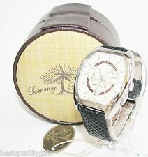 TOMMY BAHAMA BLACK WOVEN LEATHER+SILVER,BROWN,TAN DUAL TIME SWISS WATCH TB1223
