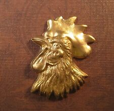 Large Raw Brass Rooster Head Stamping (1) - FFA9546 Jewelry Finding