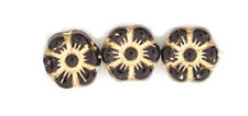 50 Black W Gold Inlay Czech Glass Flower Beads 8MM