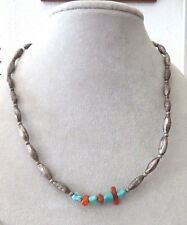 Sterling Silver and Turquoise Native American Indian Necklace