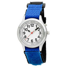 Ladies / Kids Talking Alarm Watch: Blue Fabric Strap Band, Choice of Voice