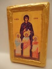Saint Sophia St Elpis Pistis Agape Rare Greek Eastern Orthodox Icon on Aged Wood