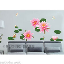Home Decor Vinyl Wall Sticker Art Decal Beautiful Pink Water Lily Pond Dragonfly