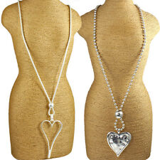 Two silver large heart pendant fashion costume jewellery long necklace designs