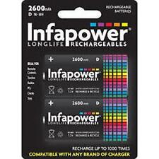 Infapower Rechargeable D Size Ni-MH Multi Usage Batteries 1.2v 2600mAh 2 Pack