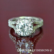 4.15 CT  FOREVER BRILLIANT MOISSANITE ROUND MICRO PAVE WEDDING ENGAGEMENT RING