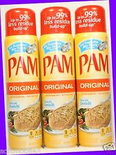 3 PAM Made with Canola Oil ORIGINAL Non-Stick Spray Fat-Free Cooking 8 oz