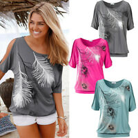 Sexy Women Summer Feather Printed Loose Ladies Casual Blouse Tops T-Shirt 6-14