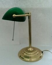 Vintage Bankers Desk Student Table Lamp With Green Cased Glass Shade Brass Base