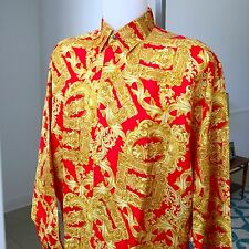 vintage VERSACE CLASSIC V2 red silk shirt Barocco & Frames print size III / M